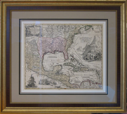 antique map framed well